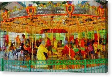 On The Carousel Canvas Print by Dan Sproul