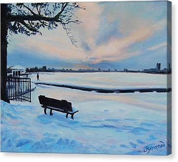 On The Charles Canvas Print by Sue Birkenshaw