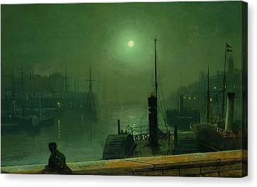 On The Clyde, Glasgow, 1879 Canvas Print by John Atkinson Grimshaw
