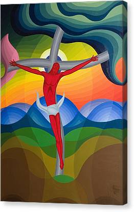 On The Cross Canvas Print by Emil Parrag