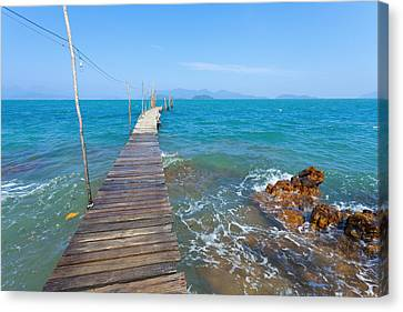 Wooden Platform Canvas Print - On The Dock by Alexey Stiop