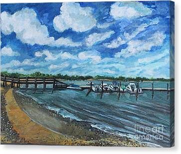 On The Dock In Great Harbors Canvas Print by Rita Brown