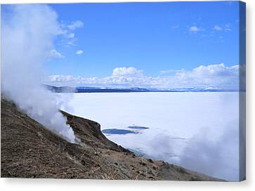 Canvas Print featuring the photograph On The Edge Of Lake Yellowstone by Michele Myers