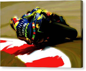 On The Edge Vi Valentino Rossi Canvas Print by Iconic Images Art Gallery David Pucciarelli