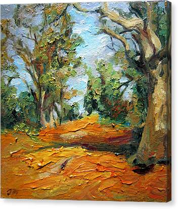 Canvas Print featuring the painting On The Forest by Jieming Wang