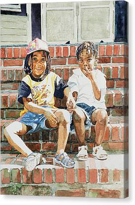 Front Steps Canvas Print - On The Front Step by Colin Bootman