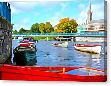 Canvas Print featuring the photograph On The Garavogue by Charlie and Norma Brock