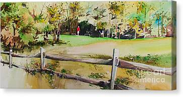 On The Green Canvas Print by P Anthony Visco