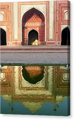 On The Grounds Of The Taj Mahal Canvas Print by Steve Roxbury