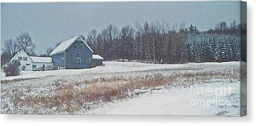 Maine Farmhouse Canvas Print - On The Hill by Joy Nichols