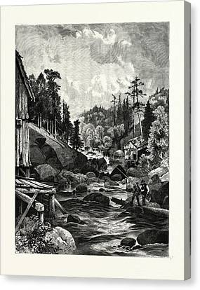 Thomas Moran Canvas Print - On The Missisquoi. Usa. Missisquoi River Is A Tributary by Canadian School