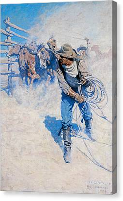 On The October Trail A Navajo Family Canvas Print by N C Wyeth