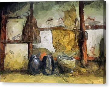 Peaceful Scene Canvas Print - On The Old Farm by Gun Legler
