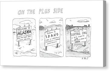 Signed Canvas Print - On The Plus Side by Roz Chast