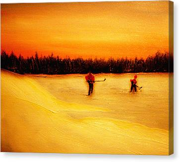 On The Pond With Dad Canvas Print by Desmond Raymond