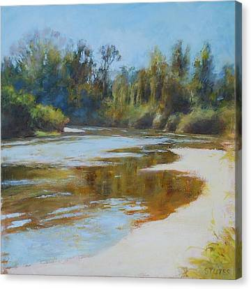 On The River Canvas Print by Nancy Stutes