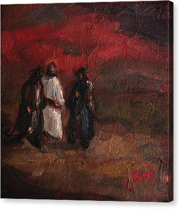 On The Road To Emmaus Canvas Print by Carole Foret