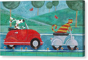 On The Road With Duke And Sweetpea Canvas Print