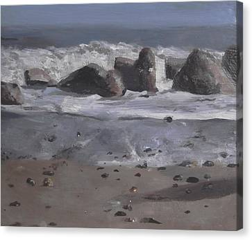Canvas Print featuring the painting On The Rocks by Cherise Foster