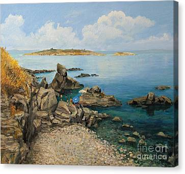 On The Rocks In The Old Part Of Sozopol Canvas Print by Kiril Stanchev