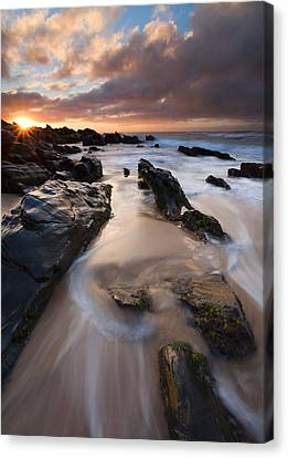 Sunburst Canvas Print - On The Rocks by Mike  Dawson