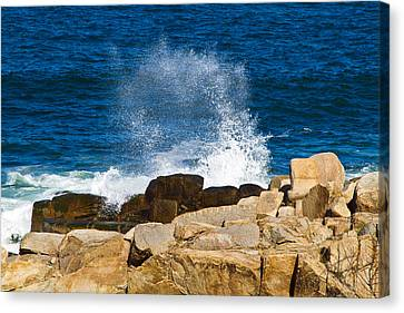 On The Rocks With A Splash Canvas Print by John Hoey