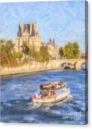 On The Seine Canvas Print by Liz Leyden