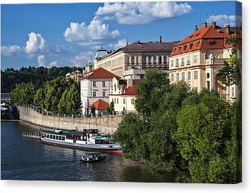 On The Shore Of Vltava. Prague Canvas Print by Jenny Rainbow