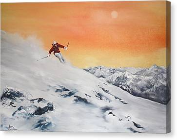 Canvas Print featuring the painting On The Slopes by Jean Walker