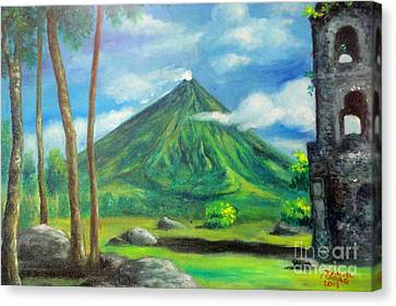 On The Spot Painting Of Mayon In Cagsawa Canvas Print by Manuel Cadag
