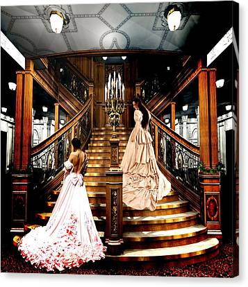 On The Staircase Of Titanic Canvas Print by Amanda Struz