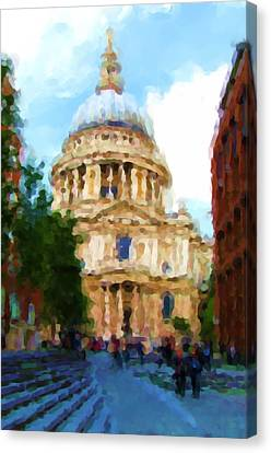 Saint Christopher Canvas Print - On The Steps Of Saint Pauls by Jenny Armitage