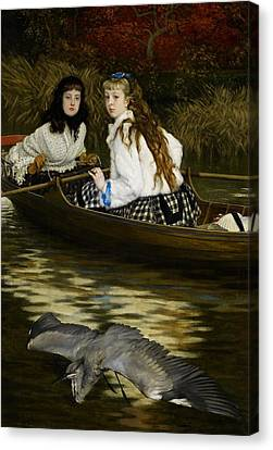 On The Thames     A Heron Canvas Print by Tissot