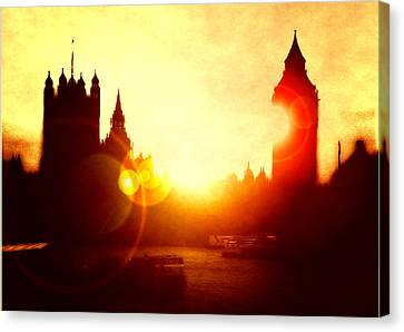 Canvas Print featuring the digital art Big Ben On The Thames by Fine Art By Andrew David