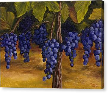 Purple Grapes Canvas Print - On The Vine by Darice Machel McGuire