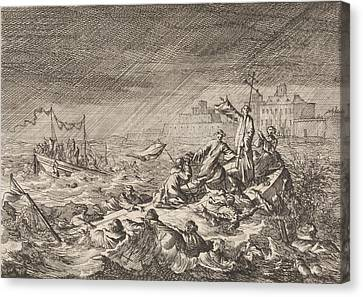 On The Vistula In Warsaw Poland, Two Ships With Clergy Canvas Print
