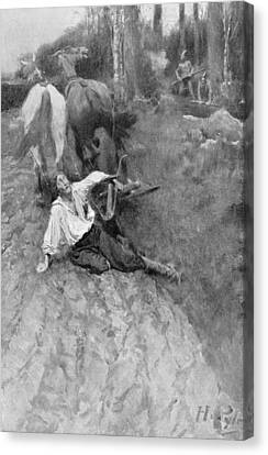 On The Warpath, Illustration From Colonies And Nations By Woodrow Wilson, Pub. In Harpers Magazine Canvas Print by Howard Pyle