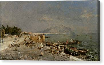 On The Waterfront At Palermo Canvas Print by Franz Richard Unterberger