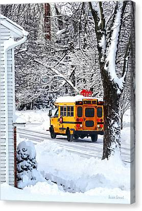 On The Way To School In Winter Canvas Print by Susan Savad