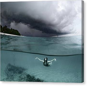 Floating Girl Canvas Print - On The Wings Of The Storm by Andrey Narchuk