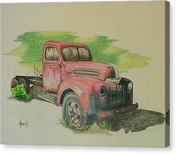 Old Trucks Canvas Print - Once Red by Lew Davis