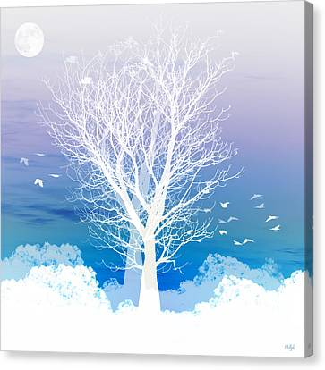 Moon Canvas Print - Once Upon A Moon Lit Night... by Holly Kempe