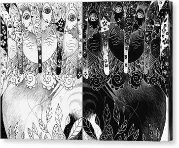 One And All - Black And White Canvas Print by Helena Tiainen