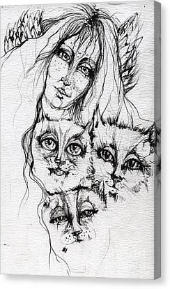 One Angel Three Cats Canvas Print by Angel  Tarantella