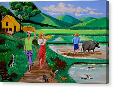 One Beautiful Morning In The Farm Canvas Print by Lorna Maza