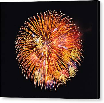 One Big Circle Of Fireworks With Black Canvas Print