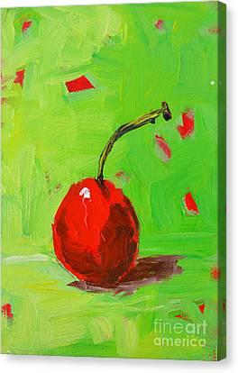One Cherry Modern Art Canvas Print by Patricia Awapara