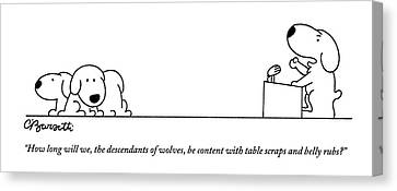 Puppies Canvas Print - One Dog Speaks On A Podium To Several by Charles Barsotti
