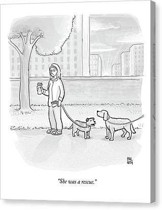 One Dog Talks To Another Canvas Print by Paul Noth