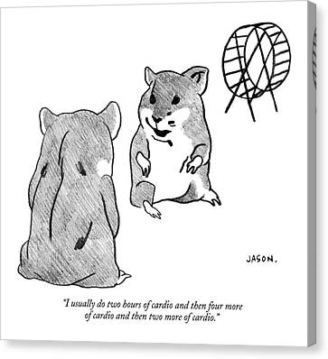 Gerbil Canvas Print - One Gerbil To Another by Jason Polan